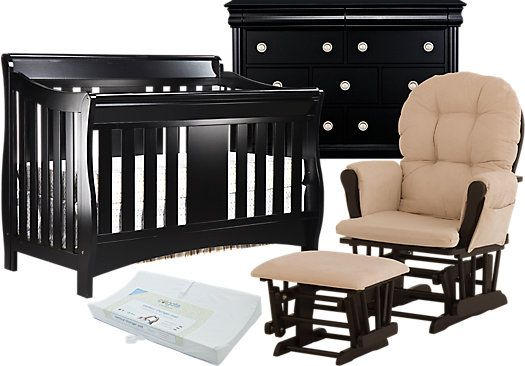 Oberon Crib Black 4pc Nursery Bedroom Bedroom Furniture Stores Kids Room Furniture Rooms To Go Kids