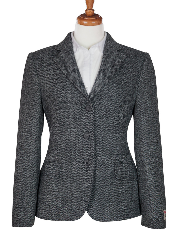 ladies grey herringbone harris tweed hacking jacket | clothing ...