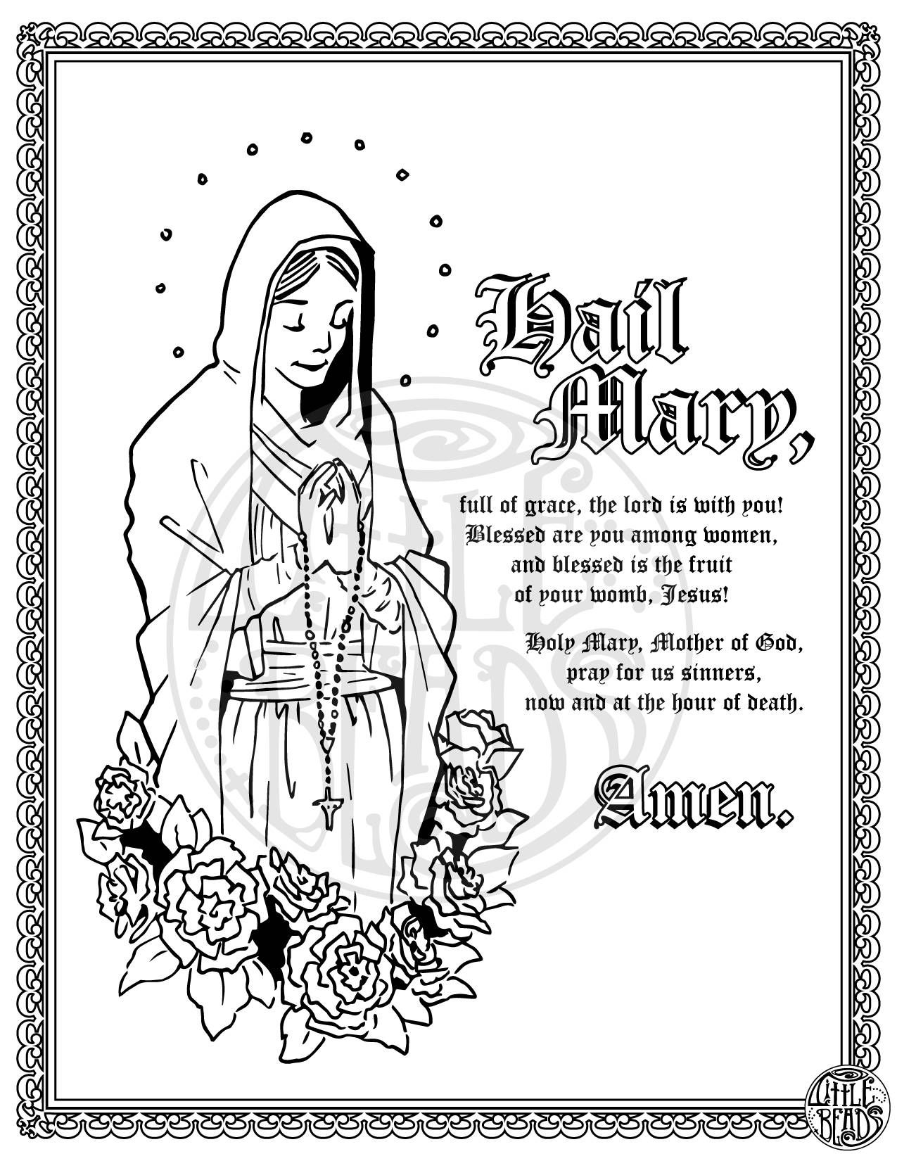 Hail Mary Coloring Page Printable Coloring Pages Inspirational
