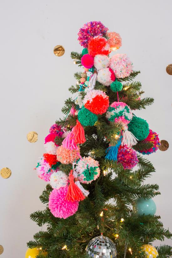A Pom Pom Tree Topper Oh Joy Cool Christmas Trees Christmas Diy Christmas Tree Decorations