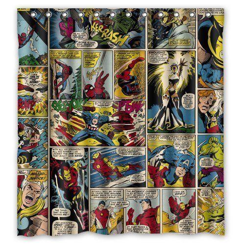 Fashionable Bathroom CollectionCustom Marvel Comics Custom Shower Curtain Bath Decor 66 X 72 Click Image For More Details