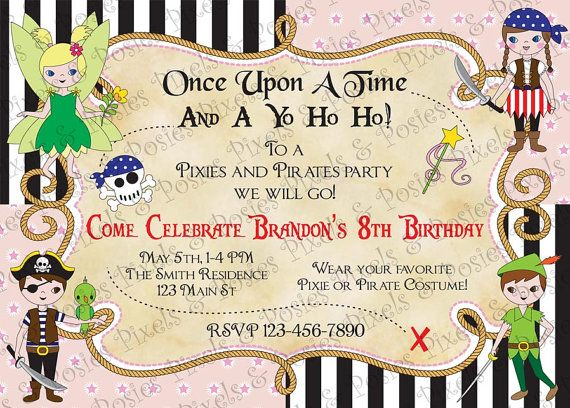 Custom Printable Invitation Print Your Own Pixies and Pirates – Costume Party Invitations Free Printable