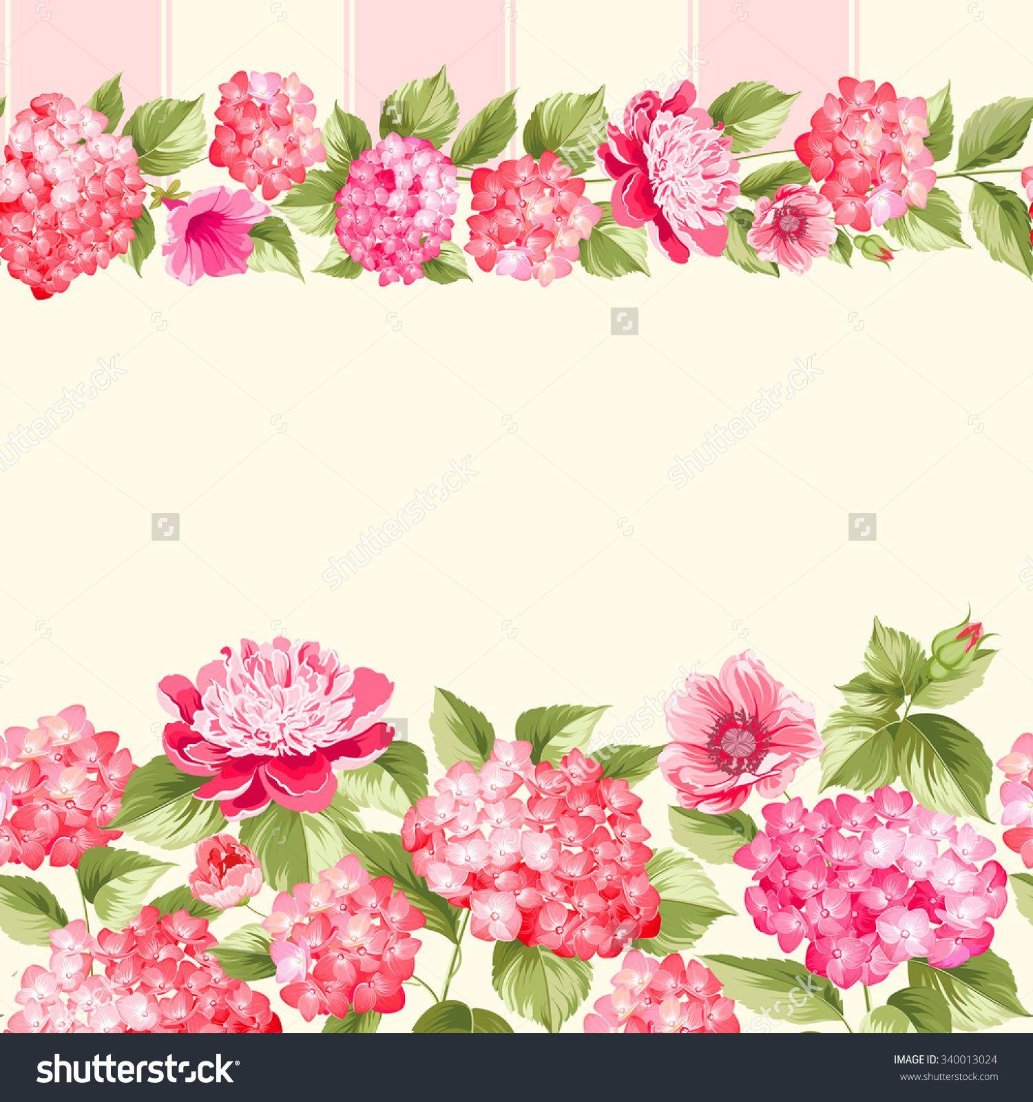 Pink Flower Border With Tile. Elegant Vintage Card Design