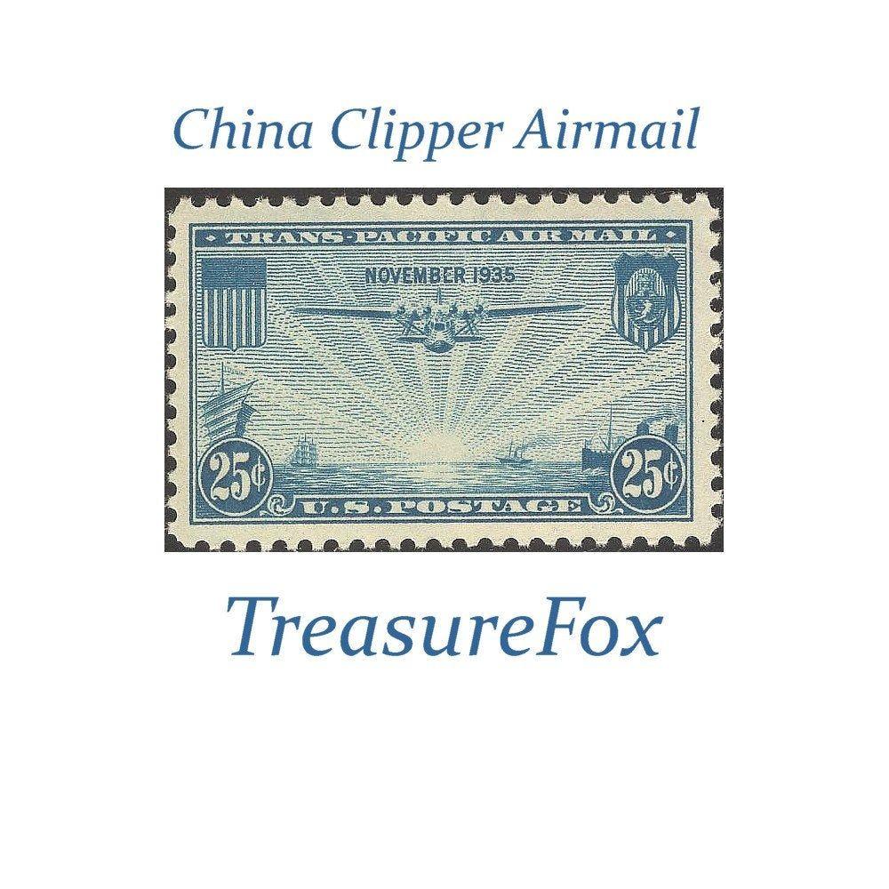 FIVE 25c China Clipper Airmail Stamp Scott C20 .. Pack
