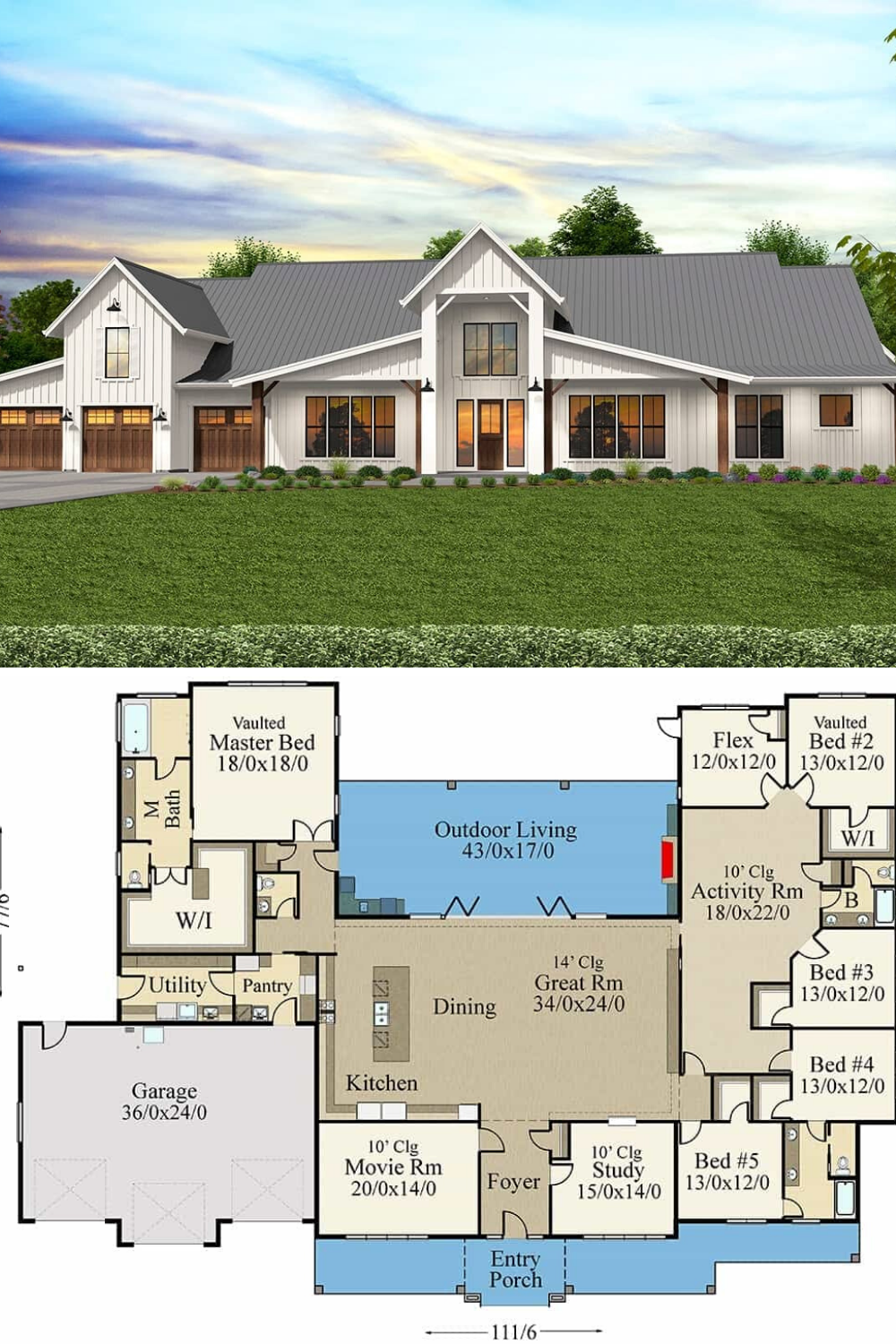 Single Story 6 Bedroom Modern Barn Home With Outdoor Living Floor Plan Barn Style House Plans Craftsman House Plans Modern Farmhouse Plans