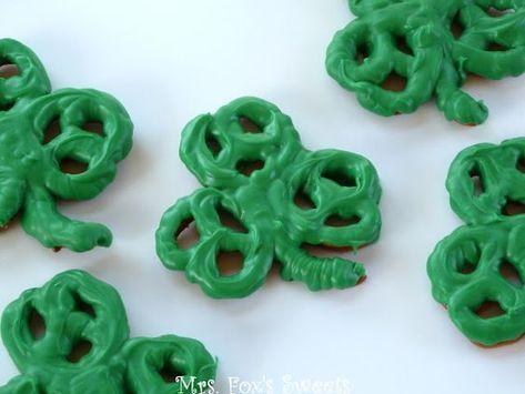 Shamrock pretzels: What a cute snack! #nissedrillerier