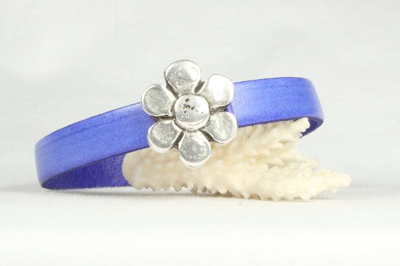 Blue Leather Bracelet Vegetable Dyed Leather Silver by CarolMade