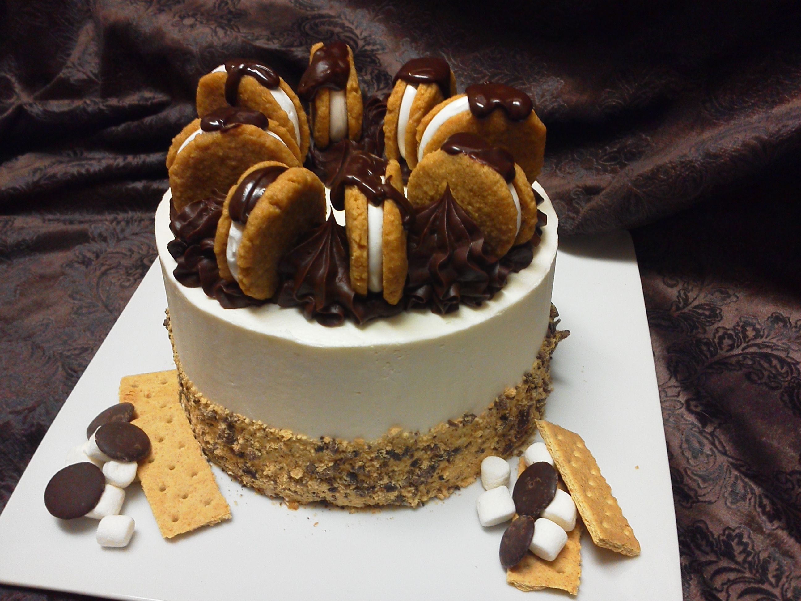 Soulfuls smores layer cake Graham cracker crumbs Belgian
