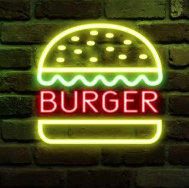 Burger Neon Sign Real Neon Light Hamburguer logo