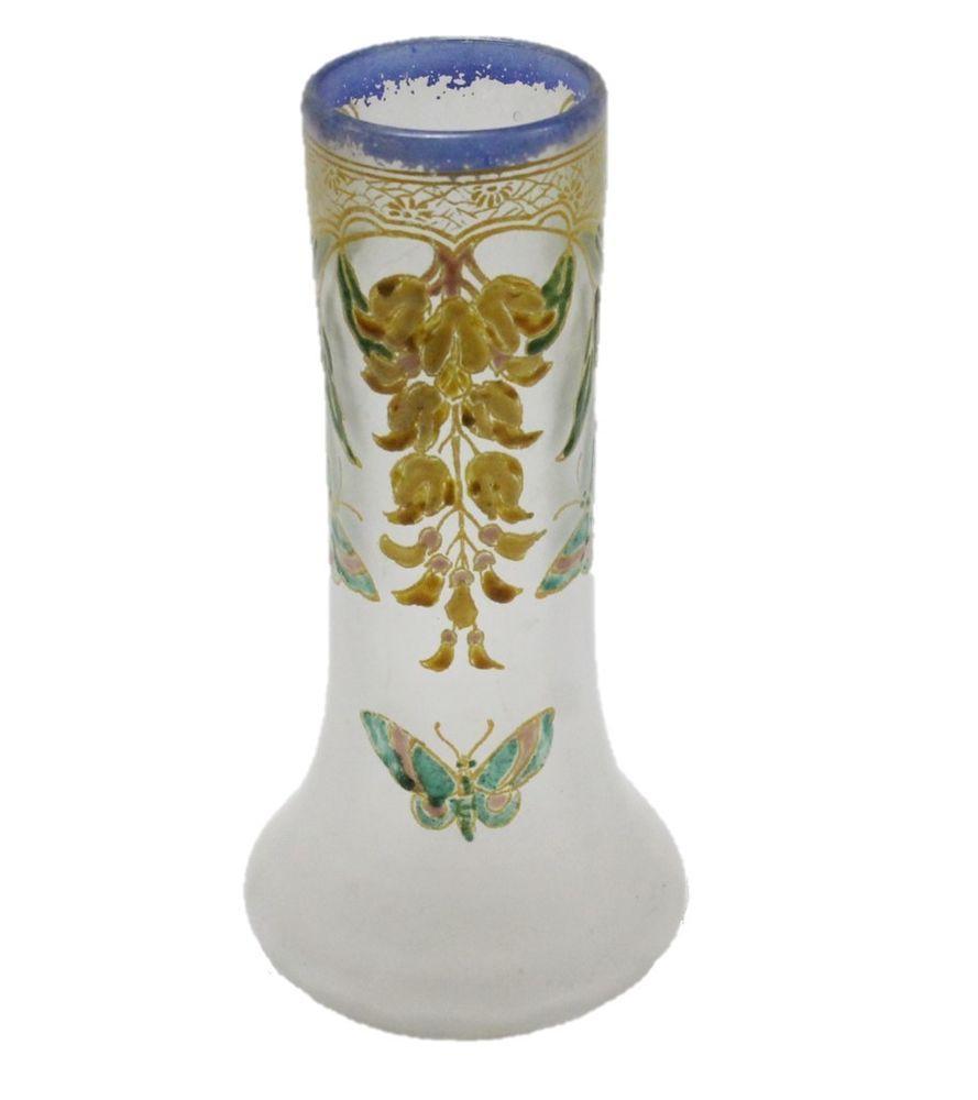 French legras enameled art nouveau glass vase enamel butterflies french legras enameled art nouveau glass vase enamel butterflies gold signed legras reviewsmspy