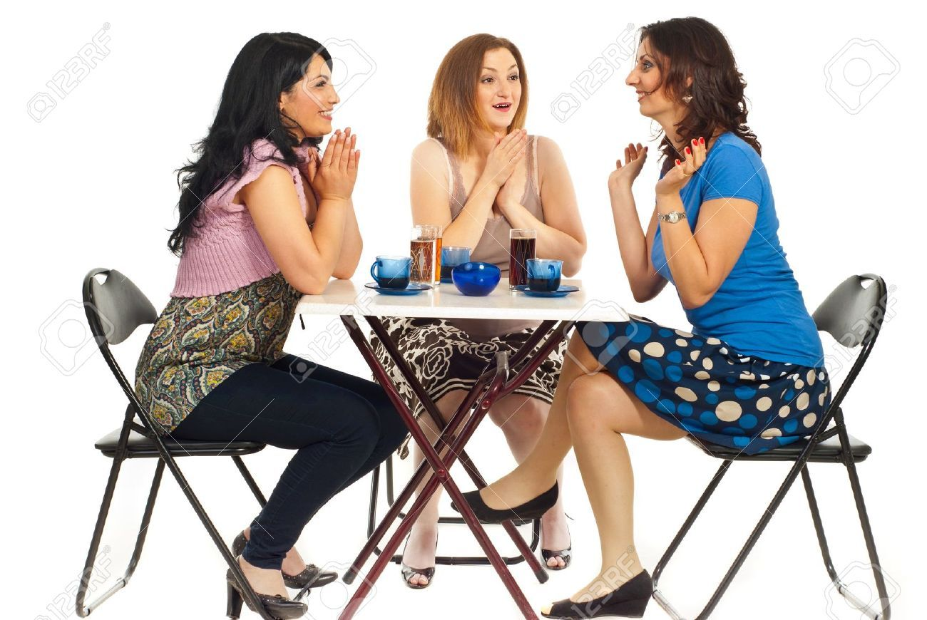 Three Women Sitting On Chair At Table In A Cafe Shop Two Of Sitting Pose Reference Sitting Poses Person Sitting