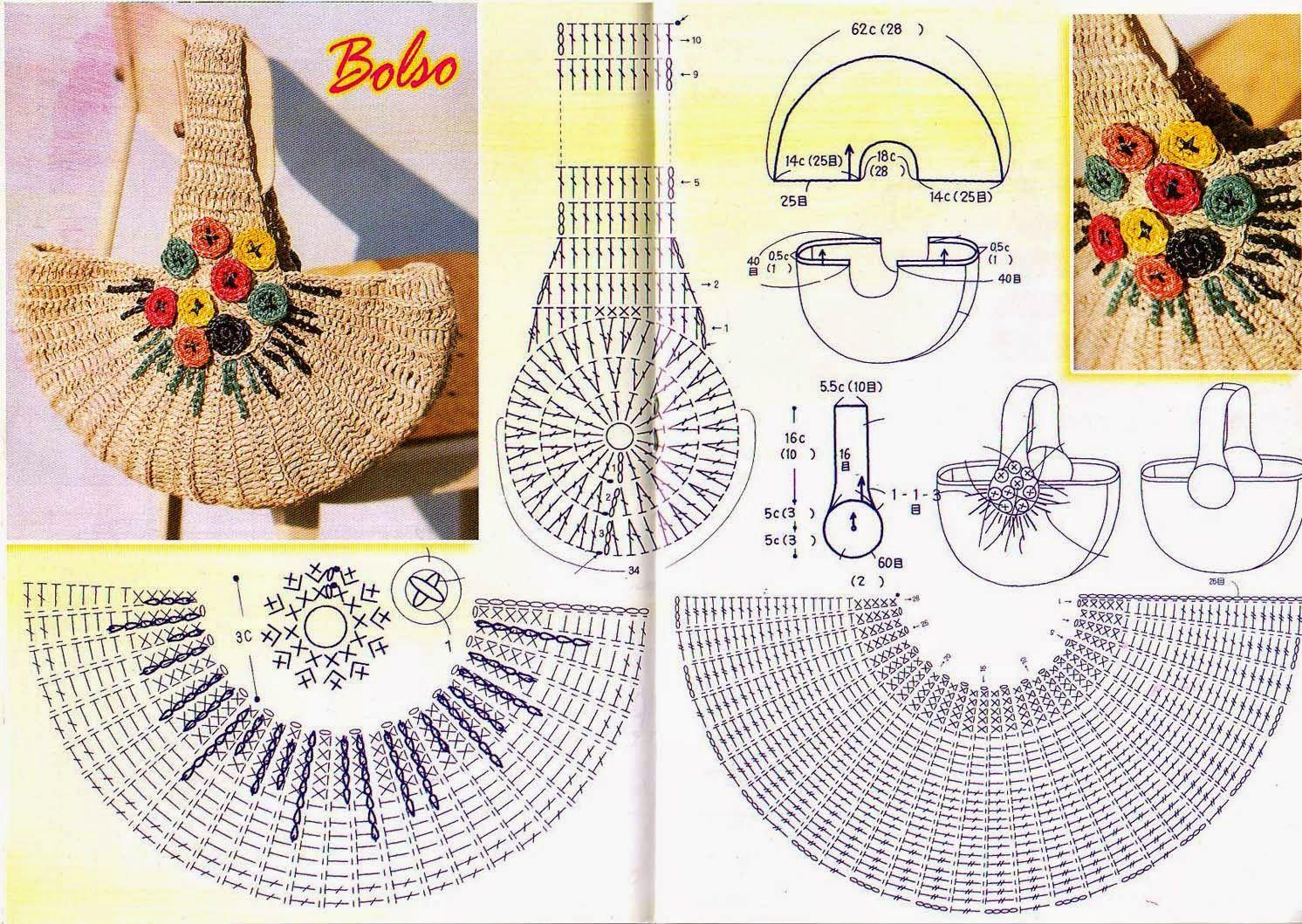 Esquema de bolso media luna a Crochet | bolsos | Pinterest | Medias ...