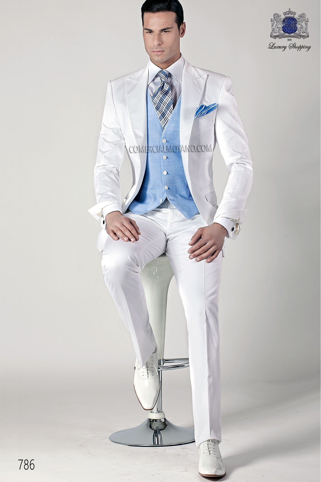 Traje italiano de moda blanco  be52f23f7976