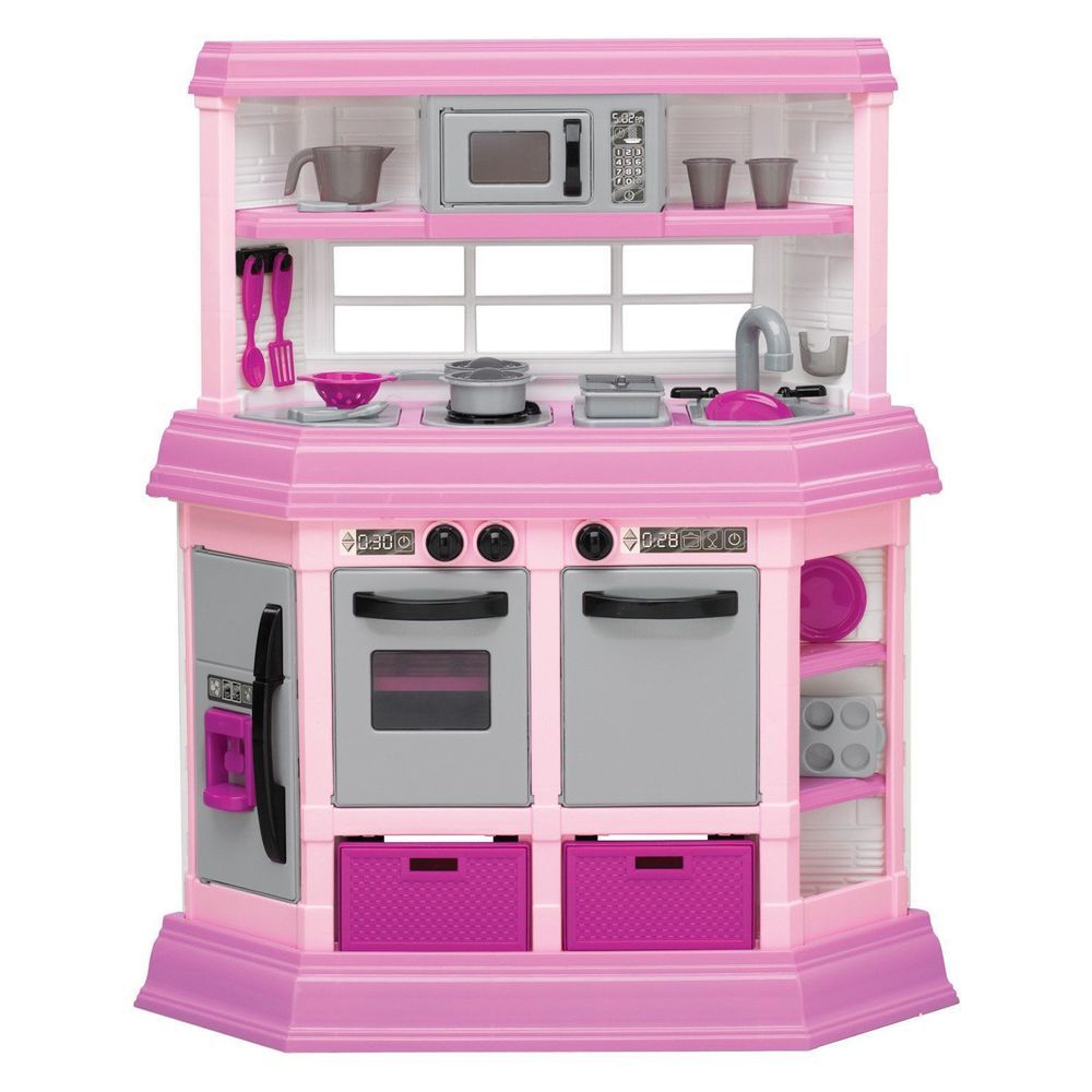 Charmant Pink Girls Toy Kitchen Kids Play Set Pretend Cookware Pre School Cooking  New #AmericanPlastics