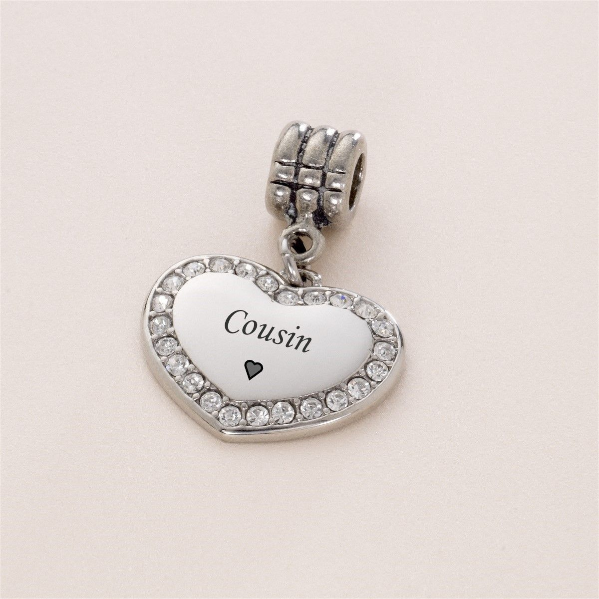 Cousin charm gift cousins Crystal Heart charm fits European bracelet//necklace