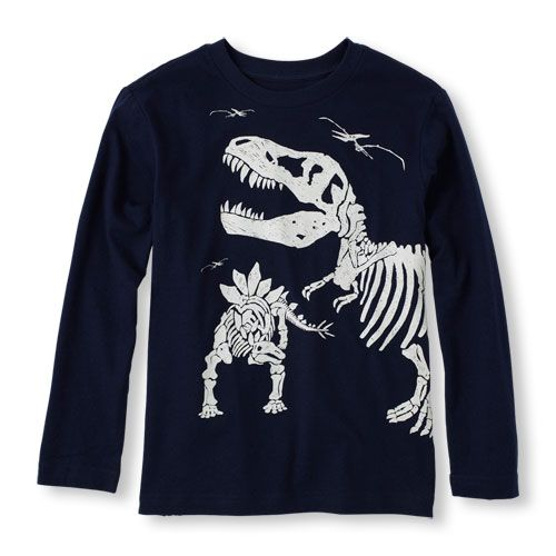 30a1dac22 Long Sleeve Dinosaur Skeleton Graphic Tee