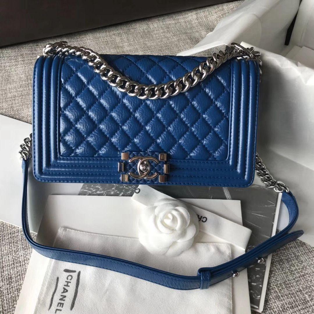 7b359097a9ce3d Chanel Medium Metallic Crumpled Waxy Calfskin Boy Flap Bag Blue 2018 ...