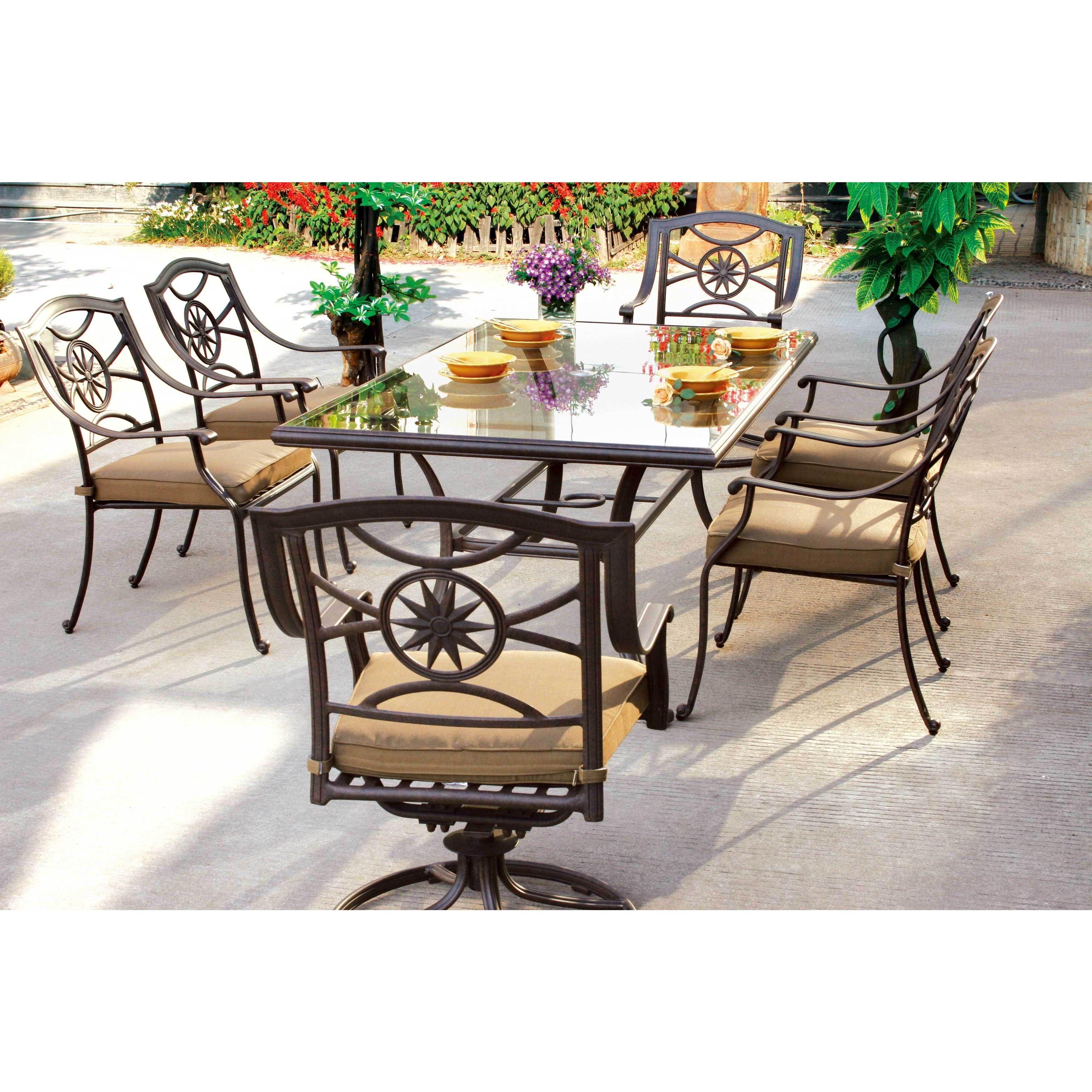 Darlee Ten Star Black Cast Aluminum SilverGlass Top Piece Dinng - Rectangular glass top patio dining table