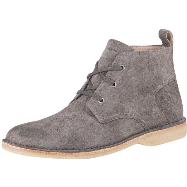 Andrew Marc Men's Dorchester Chukka Crepe Boot - Light/Pastel Grey ($89) ❤  liked on Polyvore featuring men's fashion, men's shoes, men's boots, mens  shoes, ...