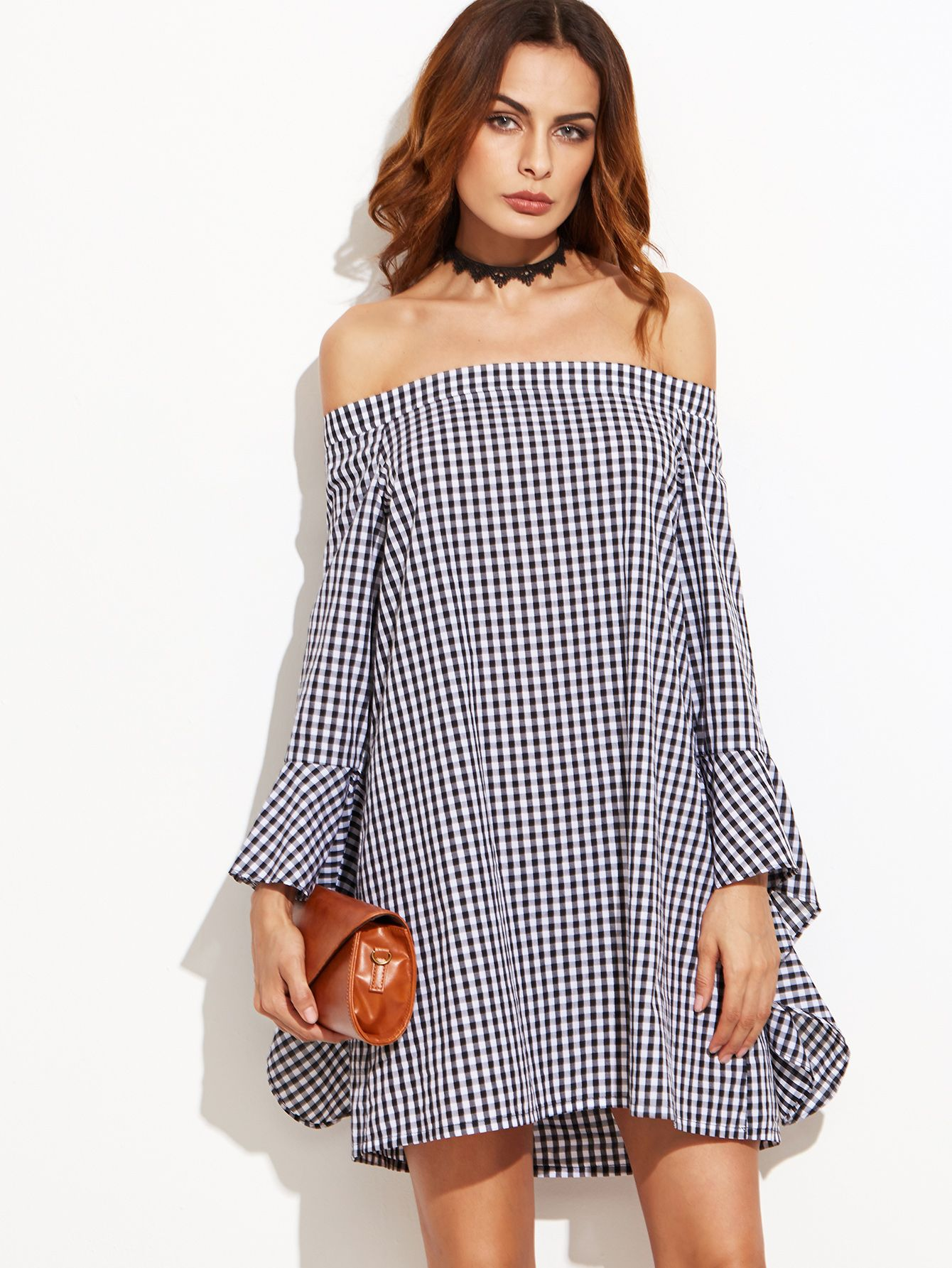 8d5c3369dc Shop Black Gingham Bell Sleeve Off The Shoulder Dress online. SheIn offers  Black Gingham Bell Sleeve Off The Shoulder Dress & more to fit your  fashionable ...