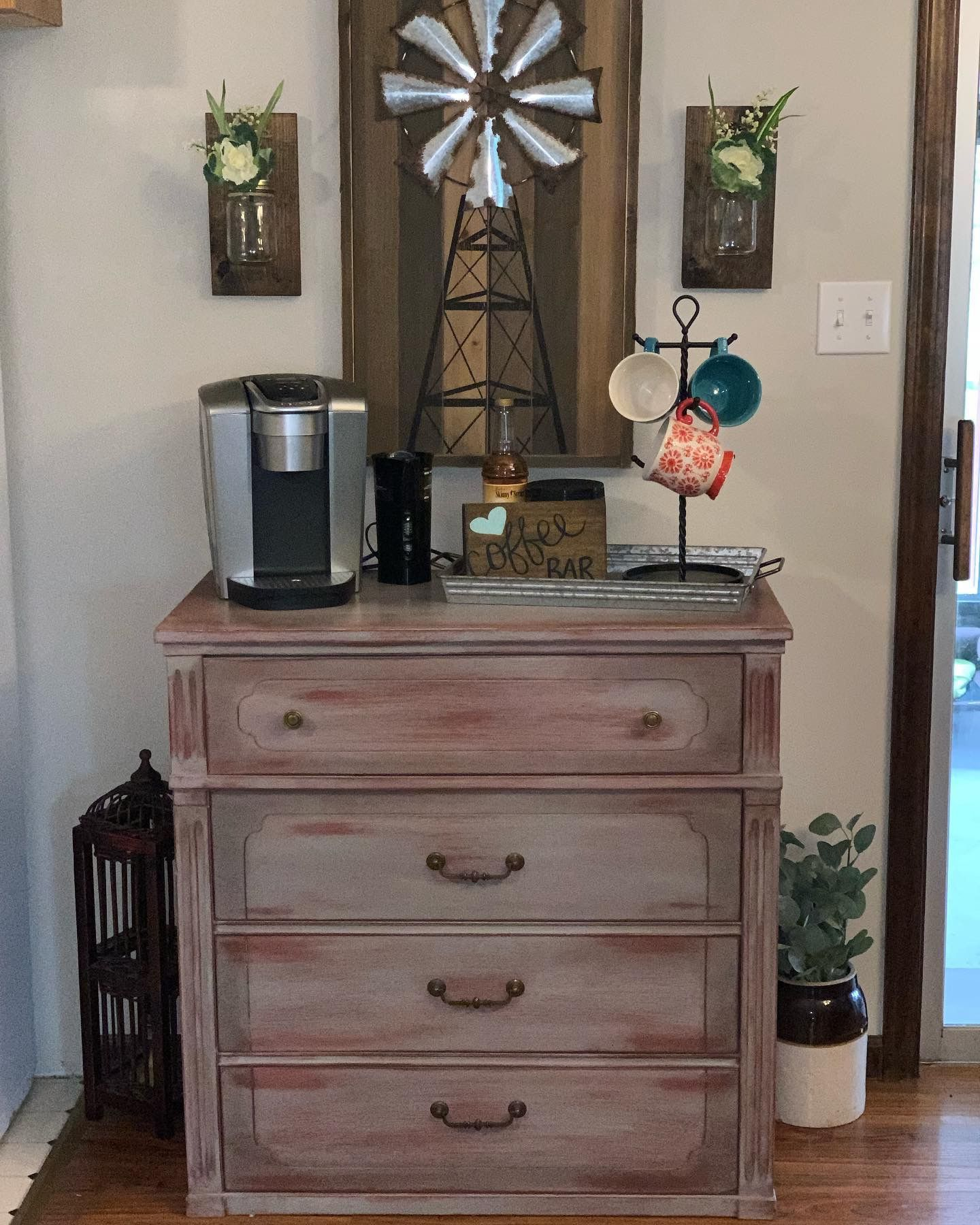 Refinished small dresser turned coffee bar with dining