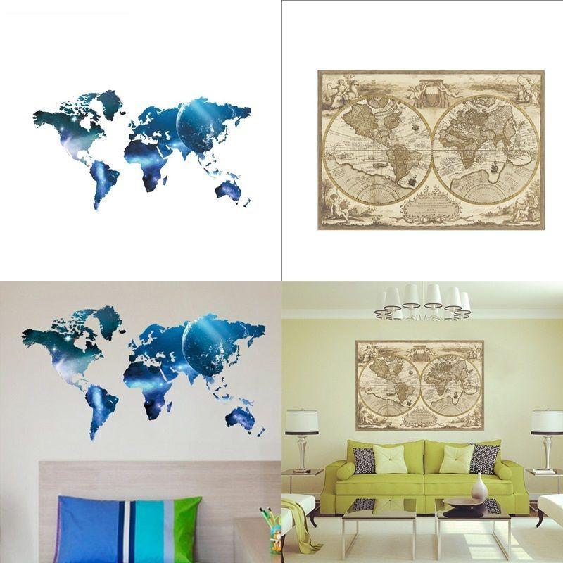 Carte du monde papier peint belle sticker mural décoration murale maison