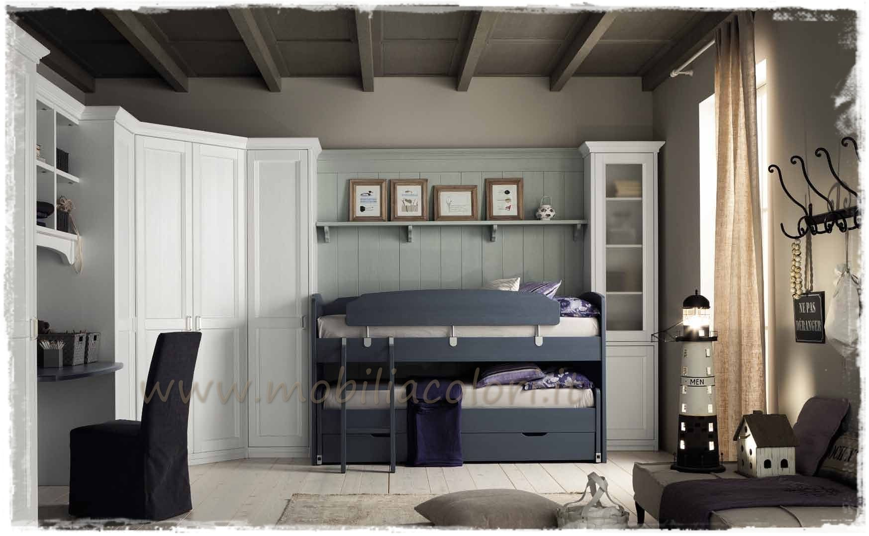 Callesella camerette ~ Wooden bedroom set for boys girls romantic composition 01 by