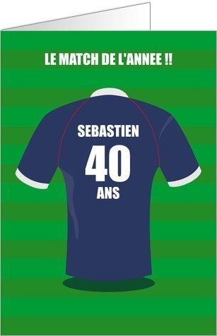 Carte d'invitation anniversaire impression maillot de foot personnalisable ! Disponible ...