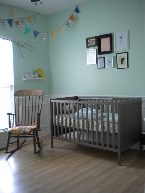 Baby Nursery Mint Green Walls Grey Brown Ikea Furniture Fabric Banner
