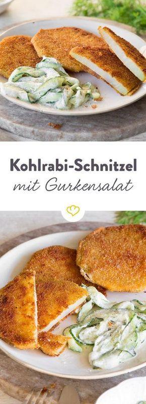 Veggie-Kohlrabi-Schnitzel mit cremigem Gurkensalat #koolhydraatarmerecepten