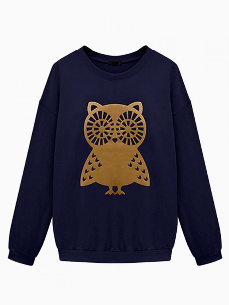 Navy Owl Print Oversized Sweater #jumper #winter #animal #comfy