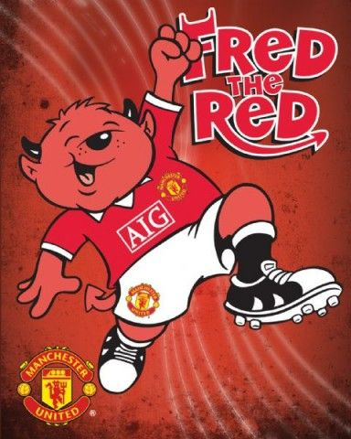 Fred the red mascot of manchester united red devils for Man u bedroom wallpaper