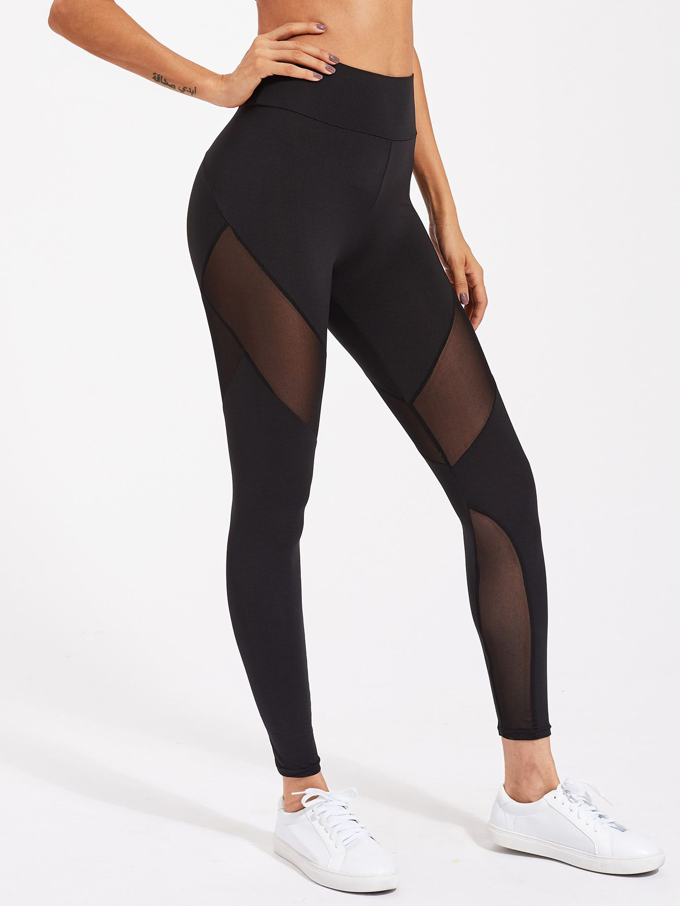 9bff4006a4cce Active Mesh Panel Zip Detail Leggings | { C l o t h e s ...