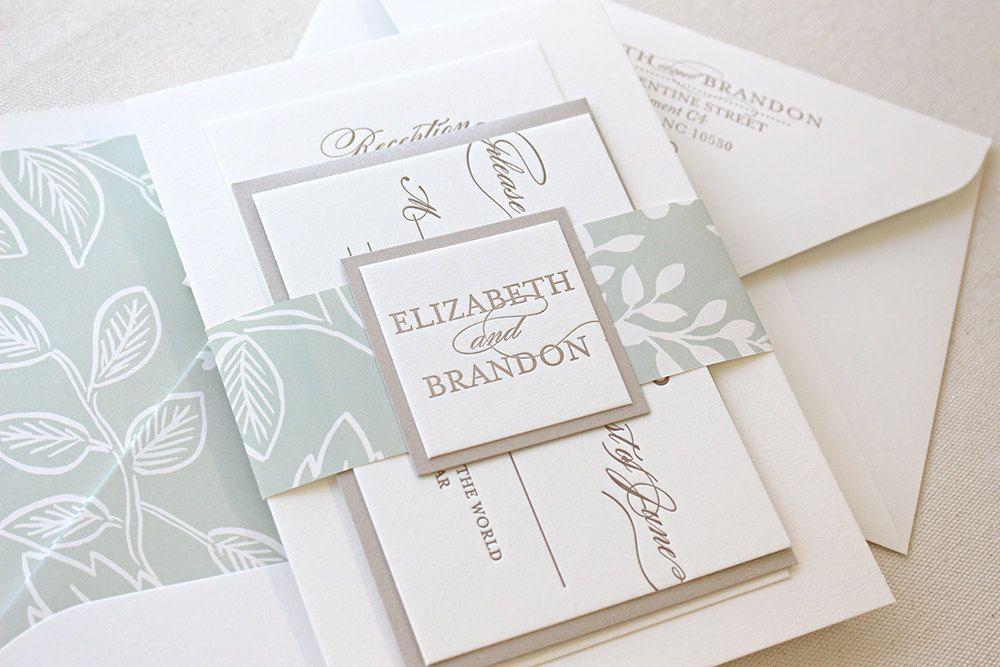 The Spearmint Blossom Suite, Modern Letterpress Wedding Invitation ...