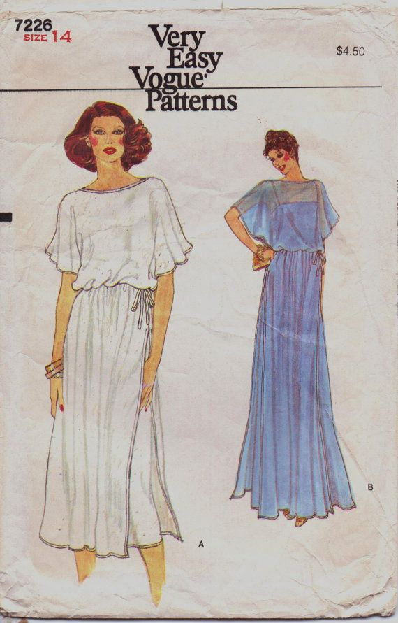 80s Very Easy Vogue Sewing Pattern 7226 Womens Evening Dress With