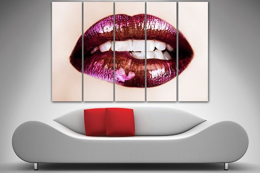 Lips Canvas Large Canvas Set Lips Wall Decor Lips Print Red Lips
