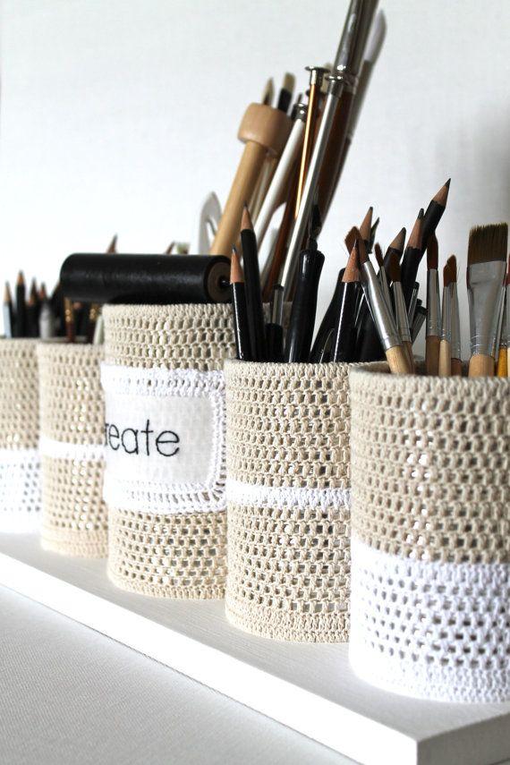Ручной стол Организатор Установить Upcycled Банки вязания экологию