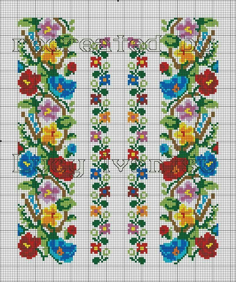 Схема вишиванки барвисті квіточки  9f9165f143579