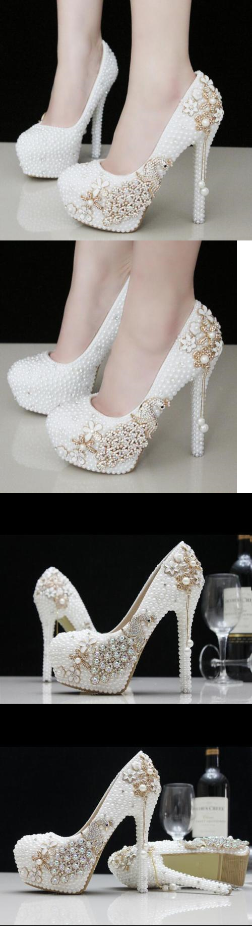 Wedding Shoes And Bridal Womens White Pearls Crystal Platform High Heels