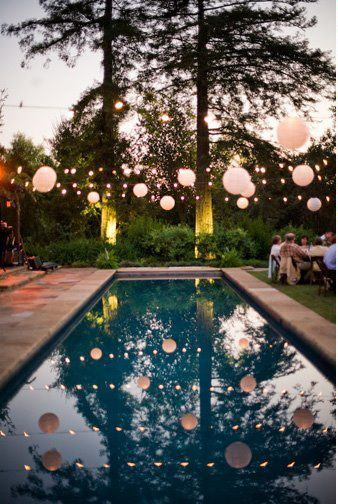 Lights and balloons over the pool | Wedding Reception ...