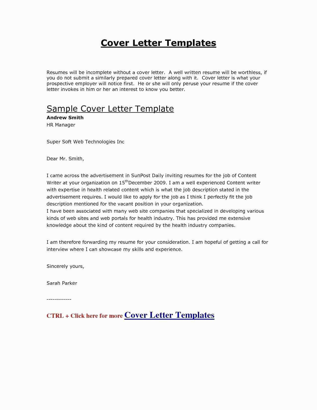 sample cover letter for resume non profit