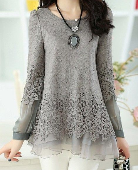 0f9c23e7 Solid Color Long Sleeve Round Collar Skirt Hem Lace Embellished T-shirt For  Women. Buy n Enjoy !!! - shirts, checkered, teacher, white, sorority, ...
