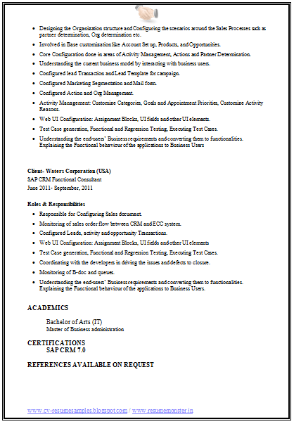 Sap Crm Resume Page 4 Resume Tips Resume Crm