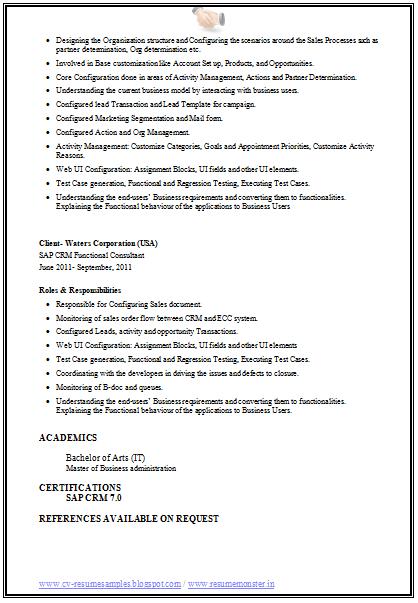 sap crm resume page 4 career pinterest