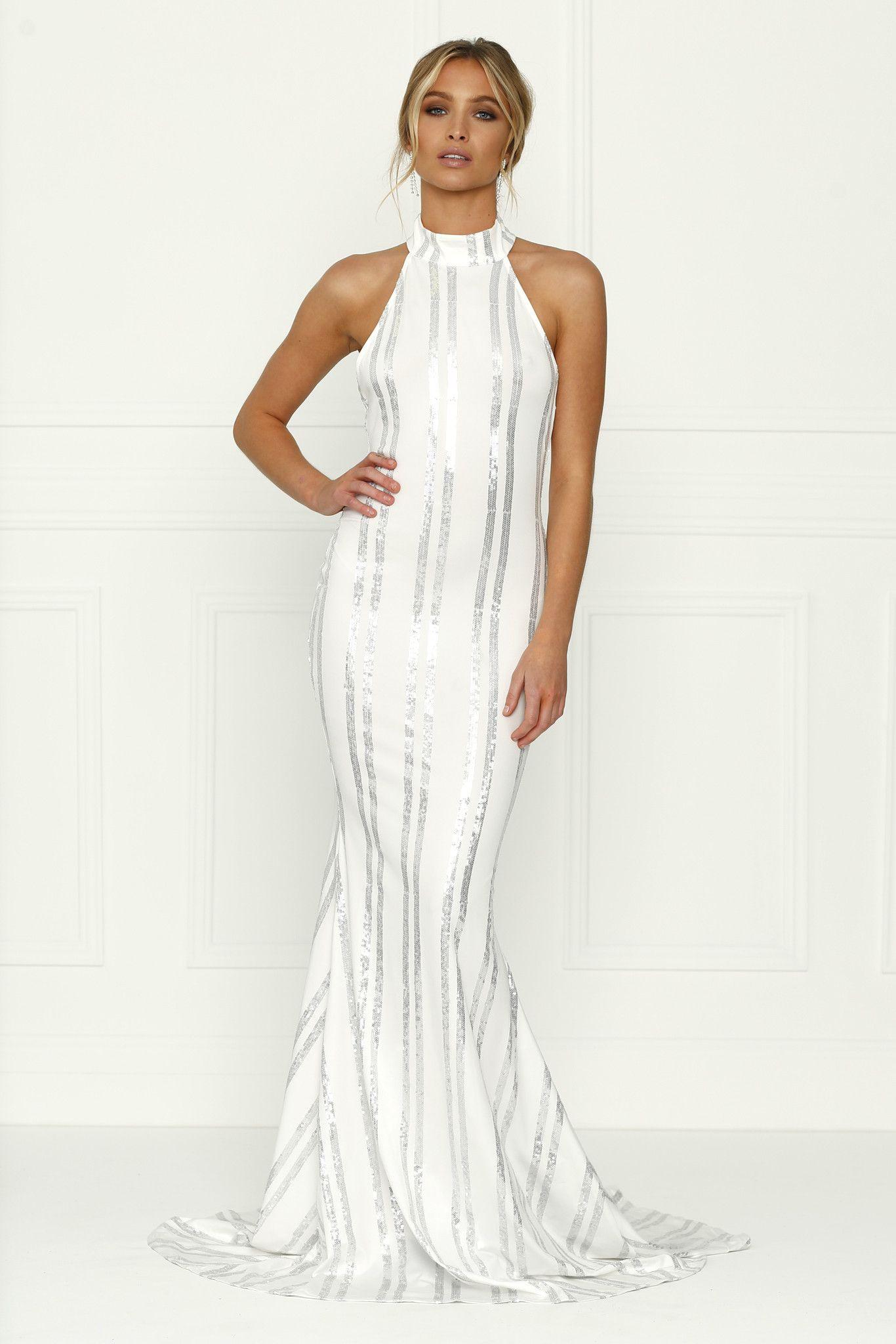 SARA Sequin White Mermaid Halter Gown Dress  Gown dress Gowns ...