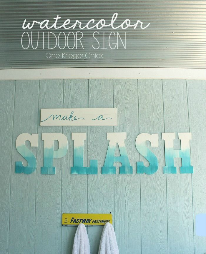 Watercolor Outdoor Sign Poolhouse Decor Outdoor Signs Pool