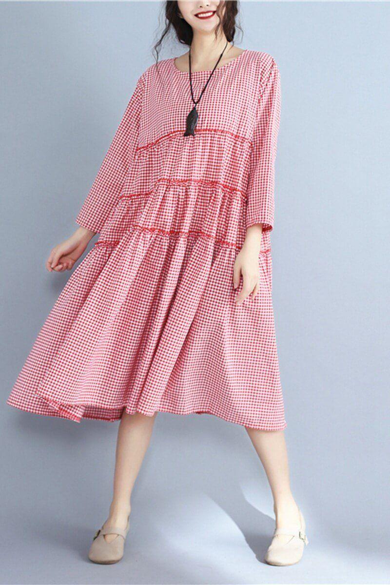 b34a4449bf7e Korean Style Plus Size Loose Cotton Dress Women Clothes