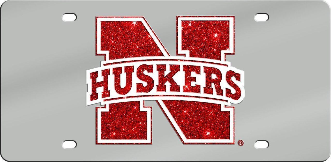 Nebraska Cornhuskers Glitter License Plate The Skybox