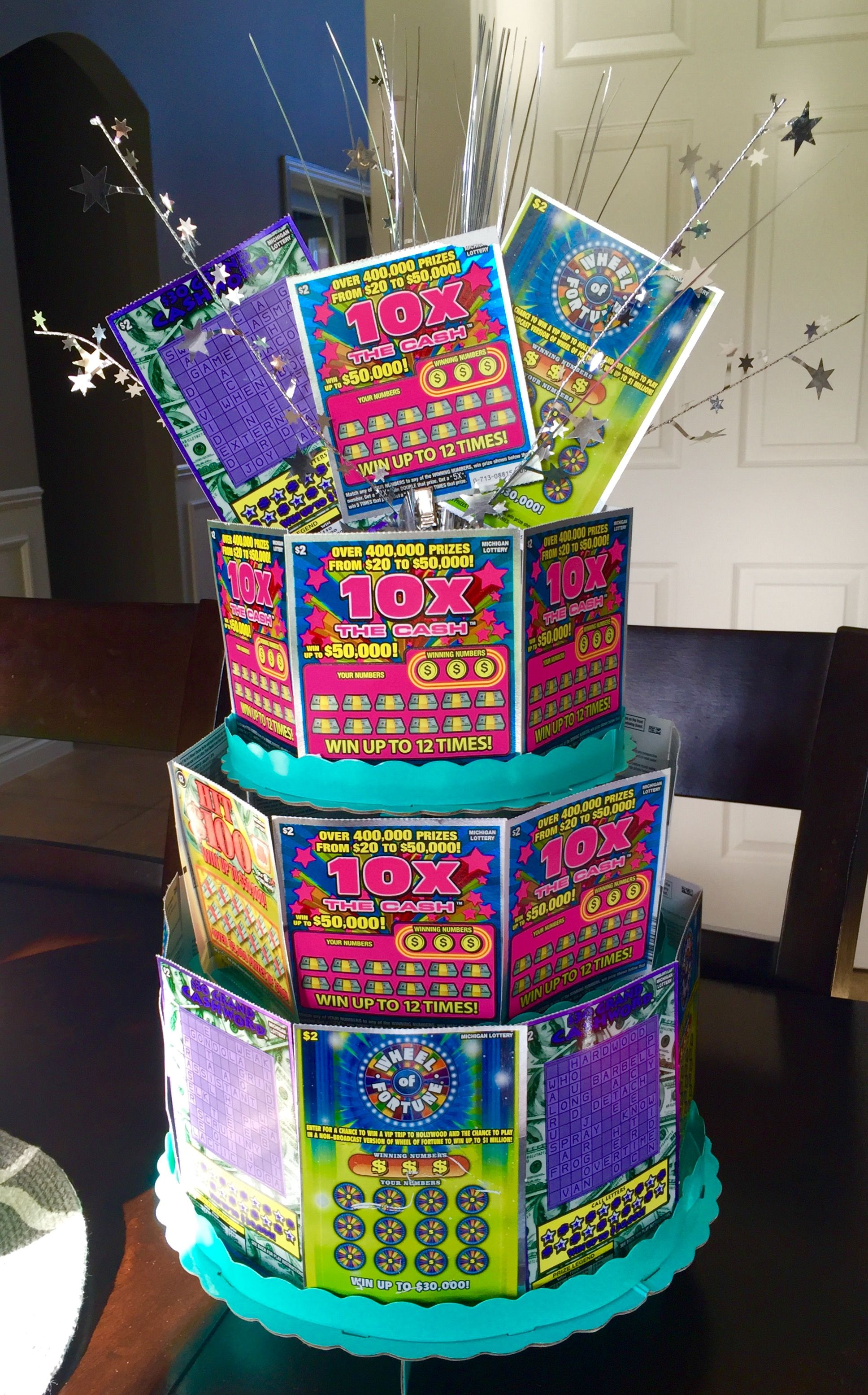 Lottery cake birthday giftraffle ideas made from scratch off lottery cake birthday giftraffle ideas made from scratch off lottery tickets and cardboard negle Choice Image