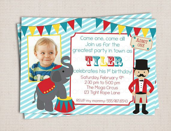 Under the Big Top Circus Carnival Themed Birthday Party Printable - circus party invitation